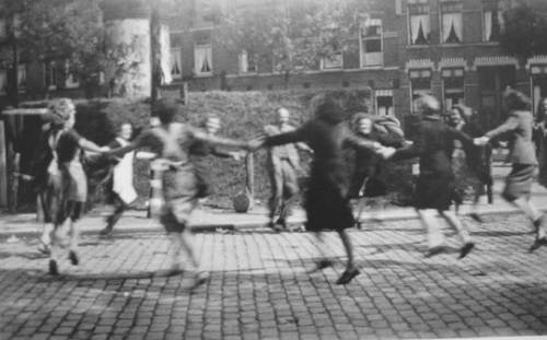 World War Two. Dancing in the streets of Rotterdam. Source: Wikimedia Commons.